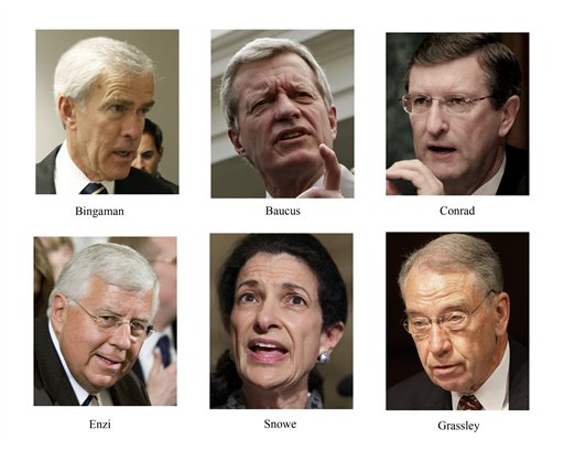 Jeff Bingaman, Max Baucus, Kent Conrad, Mike Enzi, Olympia Snowe, Charles Grassley