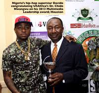 Davido and USAfrica Publisher Dr. Chido Nwangwu, July 6, 2013